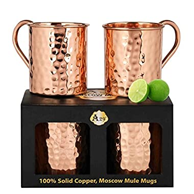 Premium Moscow Mule Copper Unlined Gift Pack Mug, 100 % Pure Solid Copper (16-Ounce, Hammered, Set of 2)