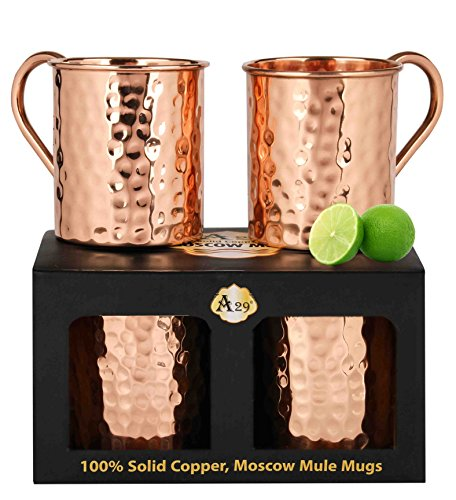 Premium Moscow Mule Copper Unlined Gift Pack Mug, 100 % Pure