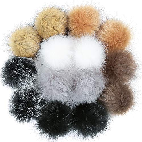 Crochet Fuzzy - Auihiay 14 Pieces 4 Inch DIY Faux Fur Fluffy Pompom Ball for Hats Shoes Scarves Keychains Bag Charms (7 Popular Mix Colors)
