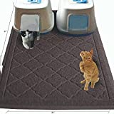 Keflar Non Toxic Jumbo Size Cat Litter Mat - (47 x 36 in) - JUMBO Scatter Control Kitty Litter Mats for Cats Tracking Litter Out of Their Box - Extra Large (XL) Soft to Paws- (Gray)