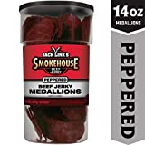 Jack Link's Smokehouse Beef Jerky Medallions, Peppered, 14 oz. - Great Everyday Snack, 9g of Protein and 4g of Sugar Per Serving, Made with 100% Premium Beef Medallions