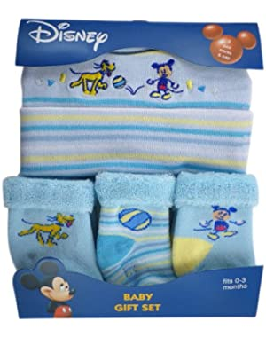 Mickey Mouse Baby Set (0-3 Months) - Mickey Baby Cap and Socks