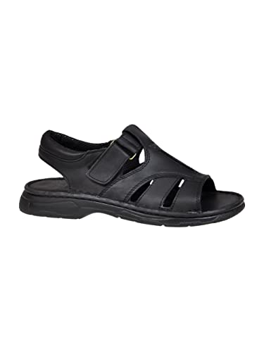 fa8cd988d81c Lukpol Mens Orthopedic Form Buffalo Leather Sandals Model-835 Black