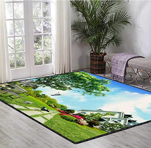 Floor Mat Green Crystal Style 3D Pattern Digital Printing Blue Sky and White Clouds Landscape Protect Your Horizons and Relax 6X9 Ft