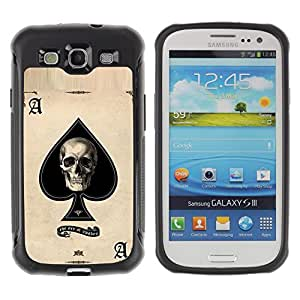SHIMIN CAO@ Ace Spades Skull Black Poker Cards Rugged Hybrid Armor Slim Protection Case Cover Shell For S3 Case ,I9300 Case Cover ,I9308 case ,Leather for S3 ,S3 Leather Cover Case