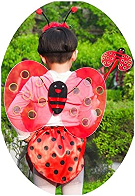 Kit de 4pcs Disfraz de Mariquita Venda Camisa Falda Fairy Ala ...
