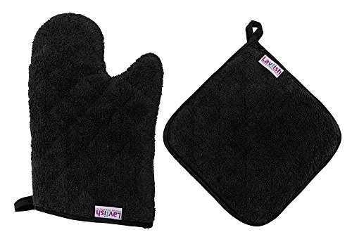 Lavlish Oven Mitt & Pot Holder Set 100% Cotton, Black