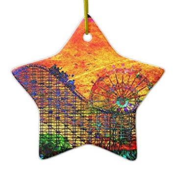 Rollercoaster DoubleSided Star Ceramic Christmas Ornament - Amazon.com: Rollercoaster DoubleSided Star Ceramic Christmas