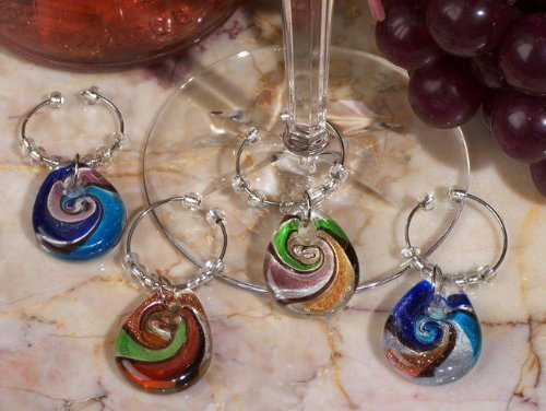 Murano Art Deco Collection Teardrop Design Wine Charm Favors