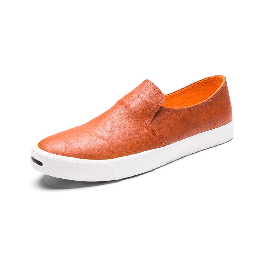YIXINY Deporte Zapato Moda Zapatos De Los Hombres De PU Adolescente Zapatos Perezosos Zapatos Planos Ocio Cuatro Colores ( Color : Naranja , Tamaño : EU40/UK7/CN41 ) EU40/UK7/CN41|Naranja