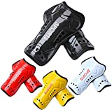 Elcoho 4 Pairs Youth Child Soccer Shin Guards Kids Shin Pads Board Lightweight and Breathable Soccer Protective Gear Equipment for Teenagers, Boys or Girls (Black,White,red,Blue, 3-6 Years)