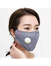 Lattice Face Breathing Mask with Valves and Carbon Filters, Washable and Reusable Comfy Cotton Respirator Face Mouth Mask (Blue)