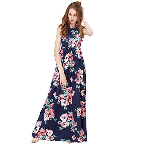 Bohemian Lady Print Dress Round Neck Sleeveless Summer high Waist Long Evening Dress MEEYA ()