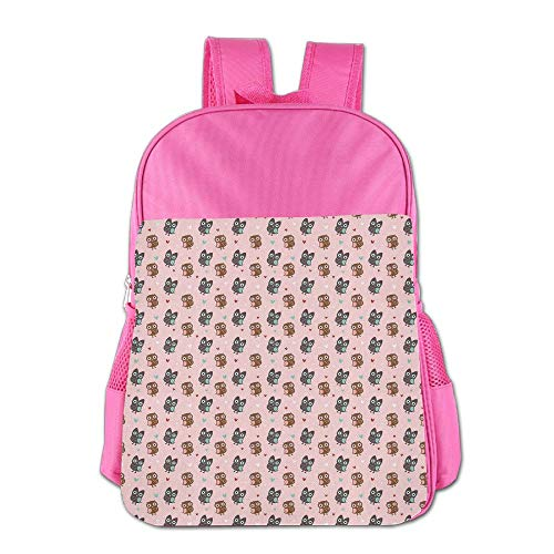 Haixia Child Boy's&Girl's Bookbag Owls Valentines Day Inspired Romantic Pattern with Hearts Cute Ornate Birds Retro Style Decorative