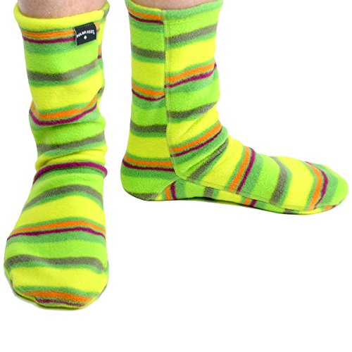 Polar Feet Non-Skid Fleece Socks, Unisex, Made in CANADA, Limeade style, Small