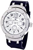 Mens Super Techno Diamond Watch Genuine Diamond Watch Oversized Silver Case Black Rubber Band w/ 2 Interchangeable Bands