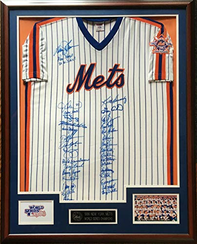 (1986 Mets Ws Team Autographed Signed Memorabilia Jersey 25Th Patch Framed 33 Auto Gary Carter - PSA/DNA Authentic)