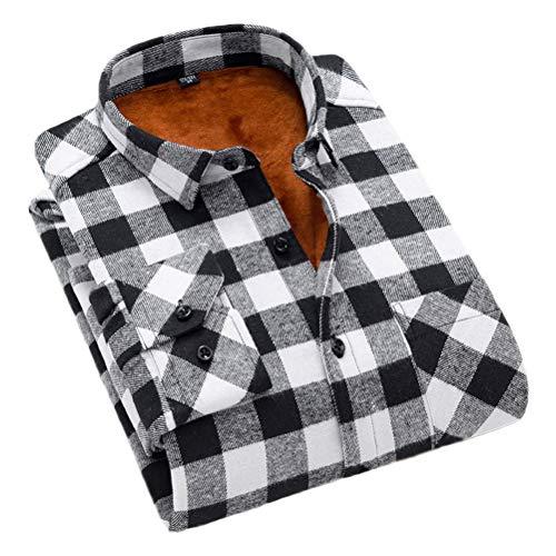 Soojun Men's Fleece Lined Plaid Thermal Flannel Shirt, M16, Medium