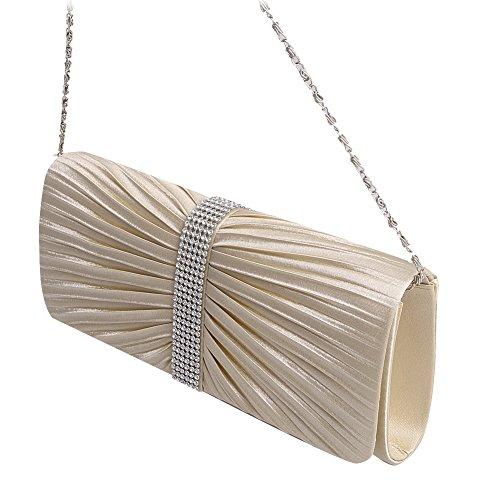 SCASTOE Fashion Satin Diamante Pleated Evening Clutch Bag Party Handbag Bridal Purse