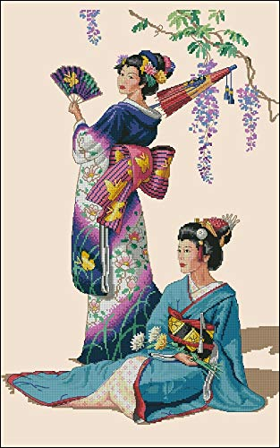 Zamtac Top Quality Beautiful Lovely Counted Cross Stitch Kit Jewels of The Orient Japanese Woman Lady Girls dim 03898 3898 - (Cross Stitch Fabric CT Number: 14CT unprint Canvas)