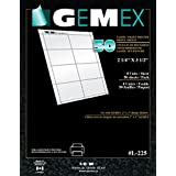 Gemex L-225 Pre-perforated Refill Sheet for Badges 2-1/4''x3-1/2'', 8 Inserts per Page, 400 per Pack, White