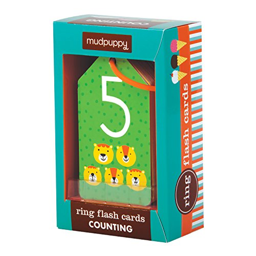 (Mudpuppy Counting Ring Flash Cards, For Ages 1+, 26 Two-Sided Cards with Art, Help Toddlers and Preschoolers Learn Basic Math with Numbers, Laminated Thick Cardboard Wipes)