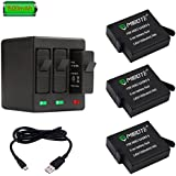MIBOTE Rechargeable Battery 3 Pack x 1500mAh and Triple Charger for GoPro Hero 5 Black, Hero 6 Black, Hero 7 Black, Hero (2018) (Fully Compatible with Original Camera)