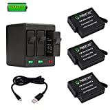 MIBOTE Rechargeable Battery 3 Pack x 1500mAh and Triple Charger for GoPro Hero 5 Black, Hero 6 Black, Hero (2018) (Fully Compatible with Original Camera)