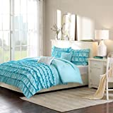 Intelligent Design Waterfall Comforter Set Full/Queen Size - Teal, Ruffles – 5 Piece Bed Sets – Ultra Soft Microfiber Teen Bedding for Girls Bedroom