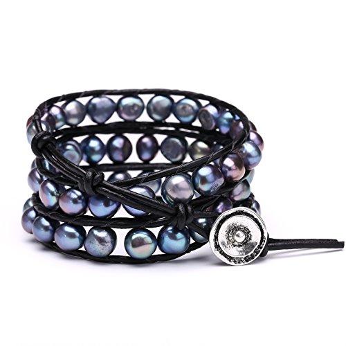 (Aobei Pearl Freshwater Cultured Black Pearl Bracelets Multi Wraps Stackable Leather Jewelry- 3 Wraps Bracelet)