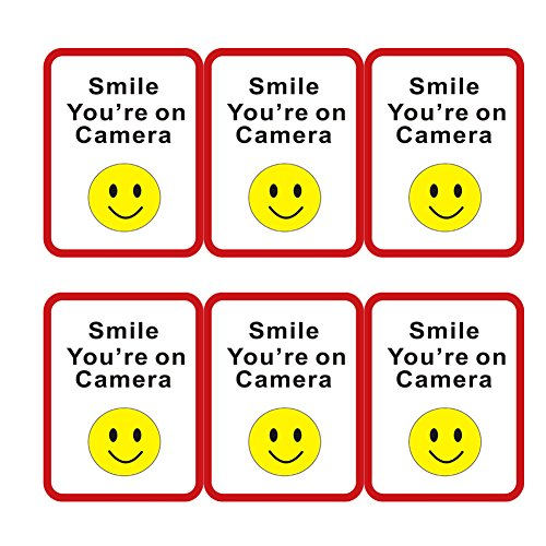 Hcode 7x5 Inches Smile You're on Camera Signs Adhesive Indoor Under Surveillance Stickers 6 Pieces Per Pack (1 roll)