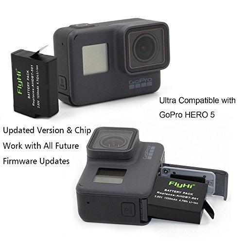 FlyHi Battery (2-Pack) & Rapid 3-Channel Charger for GoPro Hero (2018) / GoPro Hero 7/8 / HERO6 Black / HERO5 Black (Compatible with Firmware v01.55, v01.57 and v02.00, v02.01, v02.51, v02.60)