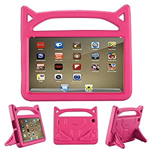 All-New Fire 7 2017 Case,Riaour Kids Shock Proof Protective Cover Case for Amazon Fire 7 Tablet (Compatible with 5th Generation 2015/7th Generation 2017) (Rose)
