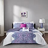 Purple and White Comforter Set Intelligent Design- Mila Comforter Set Twin/Twin XL Size - Purple, Medallion – 4 Piece Bed Sets – All Season Ultra Soft Microfiber Teen Bedding - Perfect For Dormitory - Great For Girls Bedroom