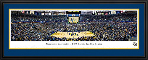 Marquette Golden Eagles Basketball - College Sports Poster with Deluxe Frame and Double Mat by Blakeway Panoramas