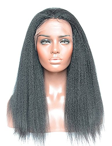 [IberteHair Beauty Fashion Synthetic Yaki Straight Lace Front Wigs Kinky Straight Coarse Perm Yaki Hair Extensions Wig with Baby Hair Around for Black Women(16] (Perm Wigs)