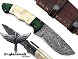 Beautiful Damascus Knife Made Of Remarkable Damascus Steel and Exotic wood and bone Handle -Its A Hunting Knife With Sheath OHM-054 Review
