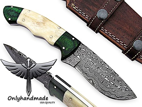 Beautiful Damascus Knife Made Of Remarkable Damascus Steel and Exotic wood and bone Handle -Its A Hunting Knife With Sheath OHM-054