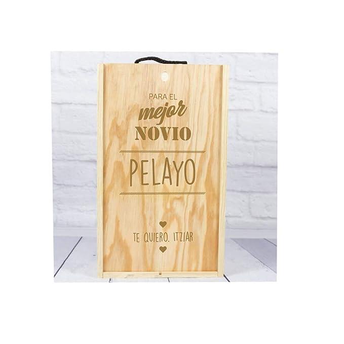 Regalo Personalizado: Regalos Personalizable, Regalo Personalizado, Caja de Madera para Dos Botellas Especial para el Mejor Novio: Amazon.es: Ropa y ...