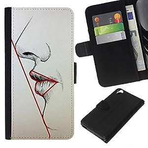 Be-Star la tarjeta de Crédito Slots PU Funda de cuero Monedero caso cubierta de piel Para HTC Desire 820 ( Symmetry Woman Lips Nose Face Art Beauty )