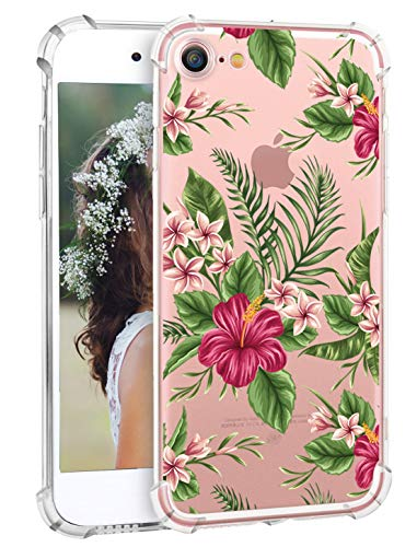 iPhone 8 Case Flowers iPhone 7 Clear Case Hepix Tropical Palm Floral Print Soft Flexible TPU Protective Bumper Cover Case for iPhone 8 iPhone 7 [4.7 i