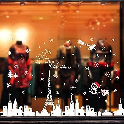 Tuopuda Pegatinas de Navidad Monigote de Nieve Fiesta extraíbles Adorable Papá Noel Nieve Alce Colores Pegatina