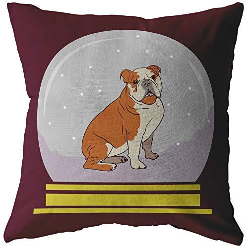 Weezag Snow Globe Bulldog Decorative Pillow or Pillow Cover, Funny Gifts for Dog Lovers, Stuffed & Sewn, 20