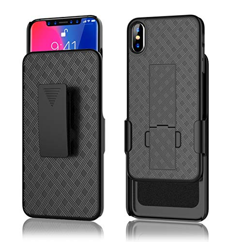 for iPhone Xs Max Case with Belt Clip and Kickstand, PIXIU - Super Slim Shell Case with Combo Shell & Holster Full Body Shockproof Protective case for Apple iPhone XS Max 6.5 inch 2018