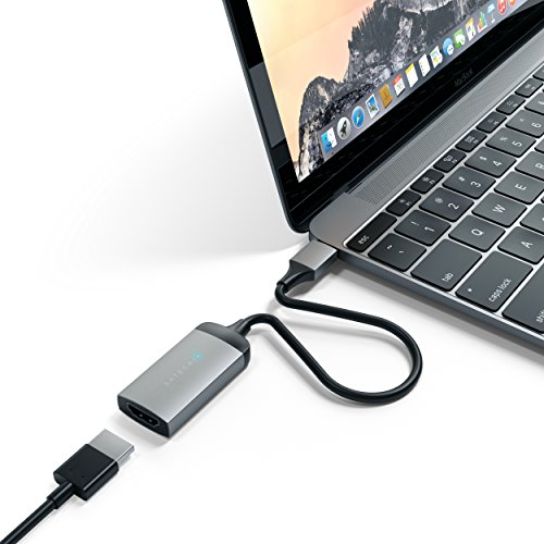 Satechi Aluminum Type-C HDMI Adapter 4K (60Hz) - Compatible with 2016/2017/2018 MacBook Pro, 2018 MacBook Air, 2018 iPad Pro, 2015/2016/2017 MacBook, Microsoft Surface Go (Space Gray)