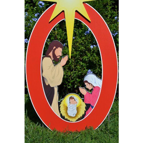 Teak Isle Joy Nativity Printed Yard Sign by Teak Isle