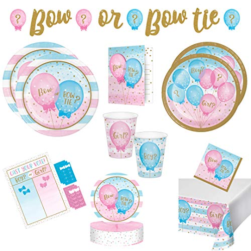 Gender Reveal Party Supplies Girl or Boy Bow or Bow Tie Baby Shower Gender Reveal Decorations Pack for 16 Guests Includes Plates, Napkins, Cups, Banner, Centerpiece, Tablecover, Invitations & Game ()