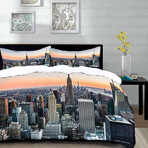 Duvet Polyester Manhattan Cover - Duvet Cover Set,Wall Art New York City Themed Picture Rose Quartz Manhattan Skyline Sunset Lighted Panel Landscape Photography Blue Orange Gray Home Decor,Black White,Twin Size Decorative 3 Piece Bedd