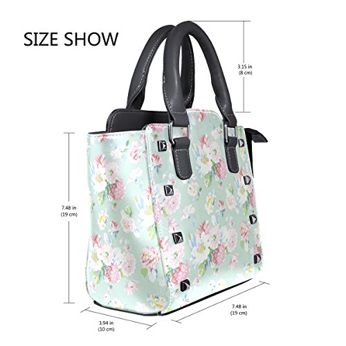 Flowers Tote Shoulder Leather TIZORAX Field Handbags Bags Of Women's 7UnZZ1wxFq