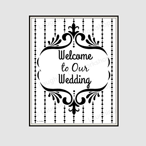 Welcome to Our Wedding Decor, Retro wedding decor, Vintage Victorian Wedding print, Black and White Wedding Decor, DIY Wedding Rustic Country Wedding wall decor